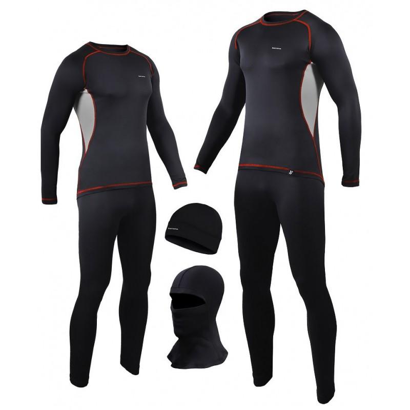 komplet - koszulka termoaktywny + spodnie termoaktywne + czapka termoaktywna BERENS BaseProtect - czarno-szary