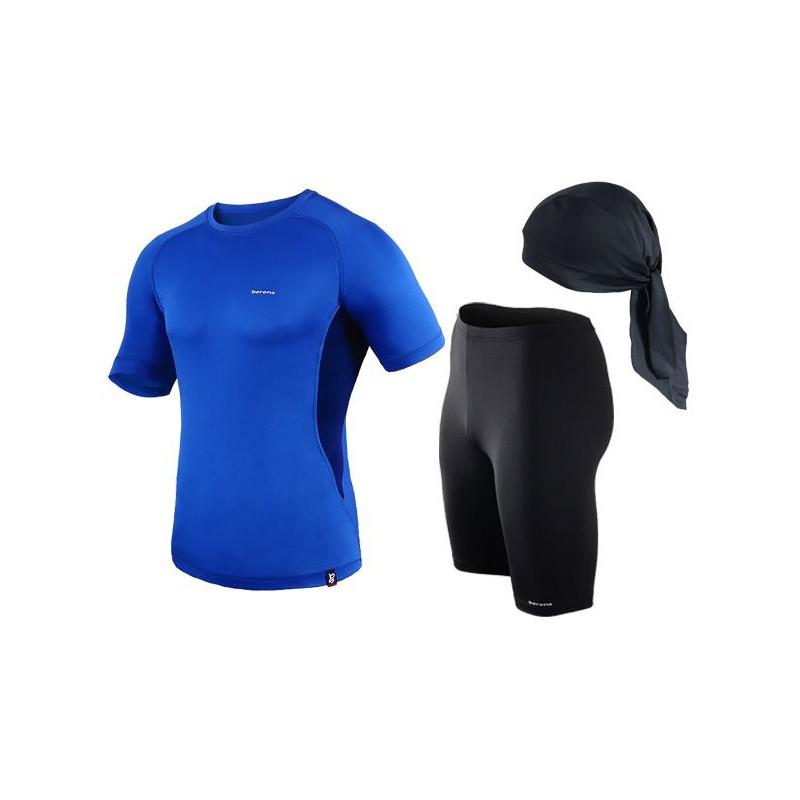 spodenki + koszulka termoaktywna do biegania BERENS niebieski