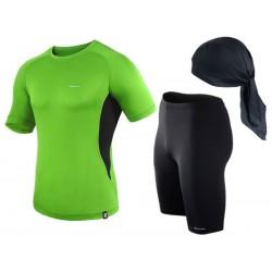 spodenki + koszulka termoaktywna do biegania BERENS limonka
