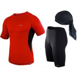 spodenki + koszulka termoaktywna do biegania BERENS czerwony