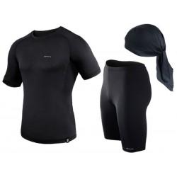 spodenki + koszulka termoaktywna do biegania BERENS czarny