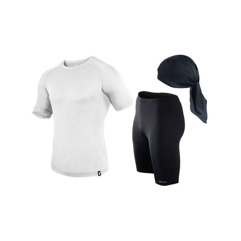 spodenki + koszulka termoaktywna do biegania BERENS biały