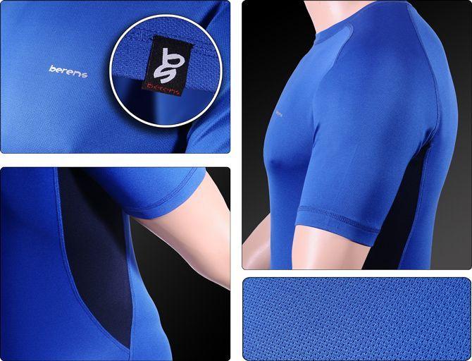 dopasowany krój i elastyczny materiał - koszulka termoaktywna niebieska