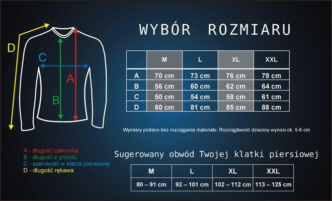 tabela rozmiarów koszulek termoaktywnych z długim rękawem