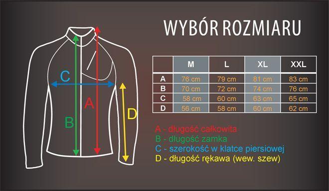 tabela rozmiarów - bluza termoaktywna