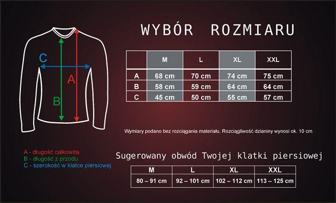 wybór rozmiarów - koszulka termoaktywna