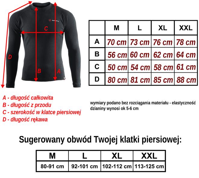 tabela rozmiarów - ciepła termoaktywna koszulka z długim rękawem