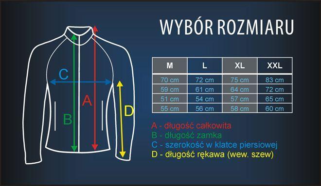 tabela rozmiarów dla bluz termoaktywnych